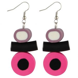 Drop Earring Liquorice Allsorts Made With Resin by JOE COOL