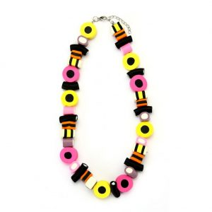 Bead String Necklace Liquorice Allsorts With Extension Made With Resin by JOE COOL