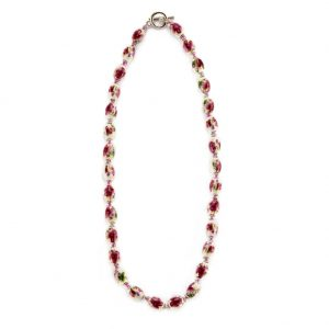 Bead String Necklace Country Garden Small Oval Bead 45cm Made With Ceramic & Glass by JOE COOL