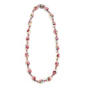 Bead String Necklace Country Garden Large Oval Bead Made With Ceramic & Glass by JOE COOL