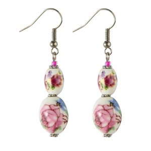 Drop Earring Country Garden Oval Bead Made With Ceramic & Glass by JOE COOL