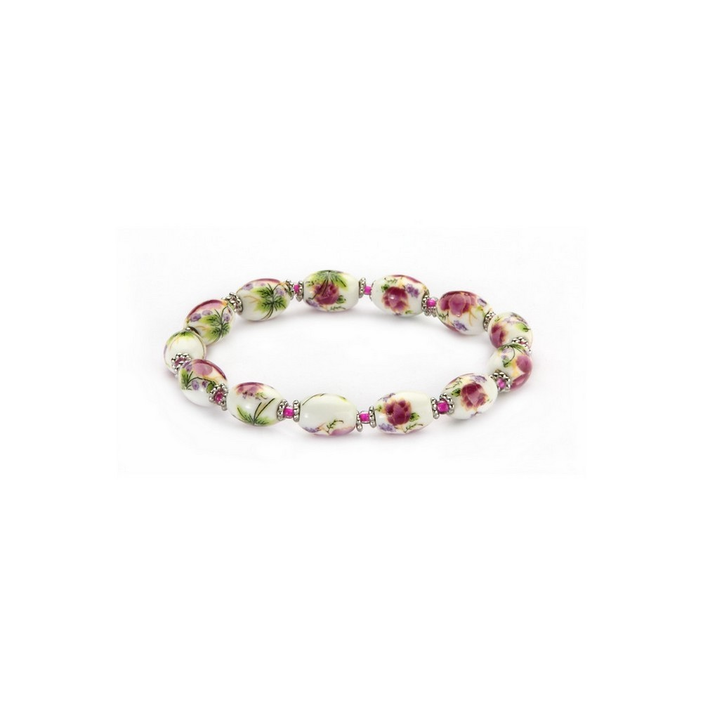 Bracelet Country Garden Small Oval Bead Elasticated Made With Ceramic & Glass by JOE COOL