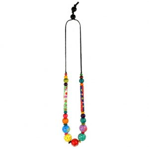 Bead String Necklace Painted Beads Made With Cord & Wood by JOE COOL