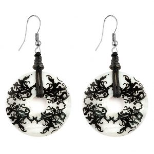 Drop Earring With Filigree Detail Made With Mother Of Pearl by JOE COOL