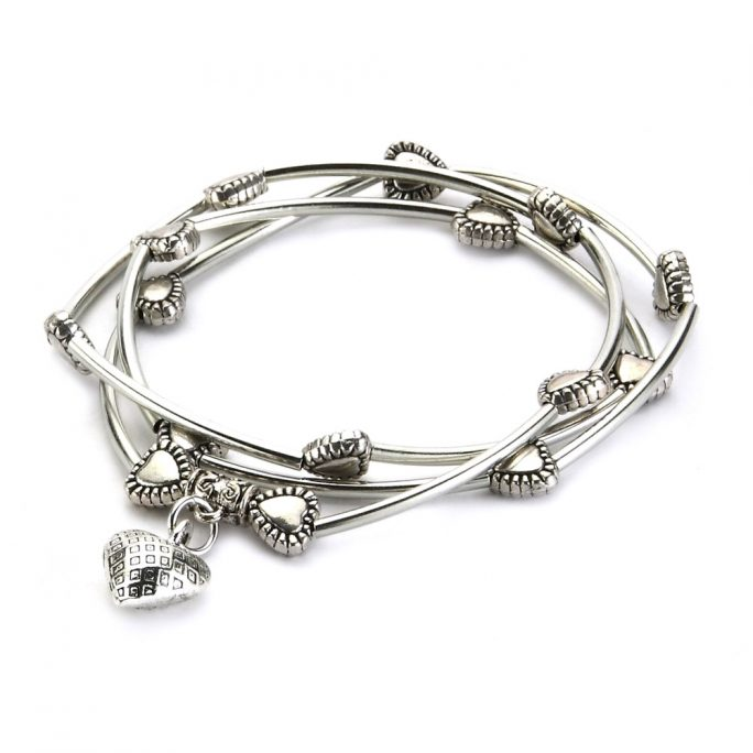 Wrap Bracelet Tube Bead With Hearts Made With Tin Alloy by JOE COOL