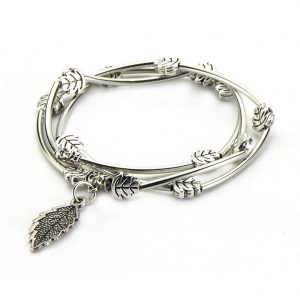 Wrap Bracelet Tube Bead With Leaves Made With Tin Alloy by JOE COOL