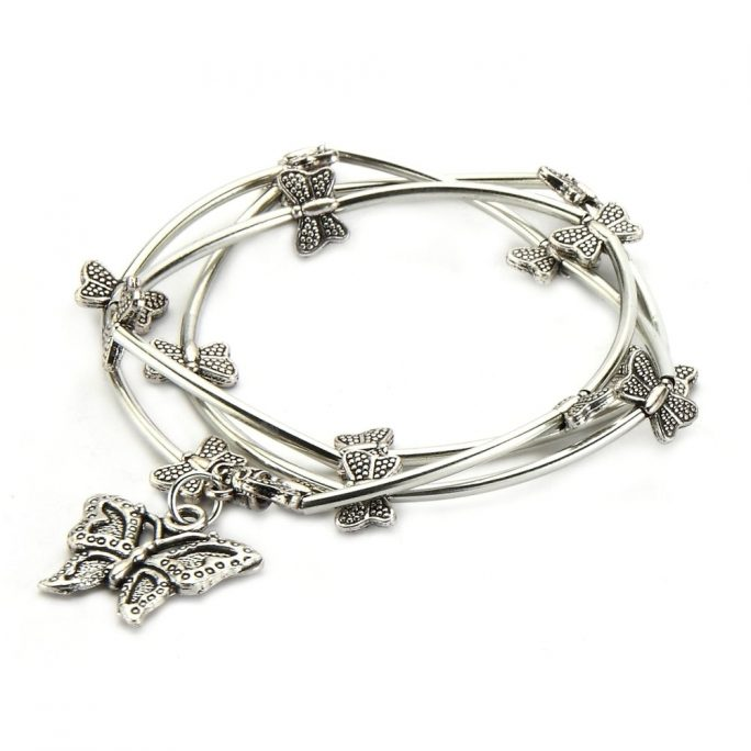 Wrap Bracelet Tube Bead With Butterflies Made With Tin Alloy by JOE COOL