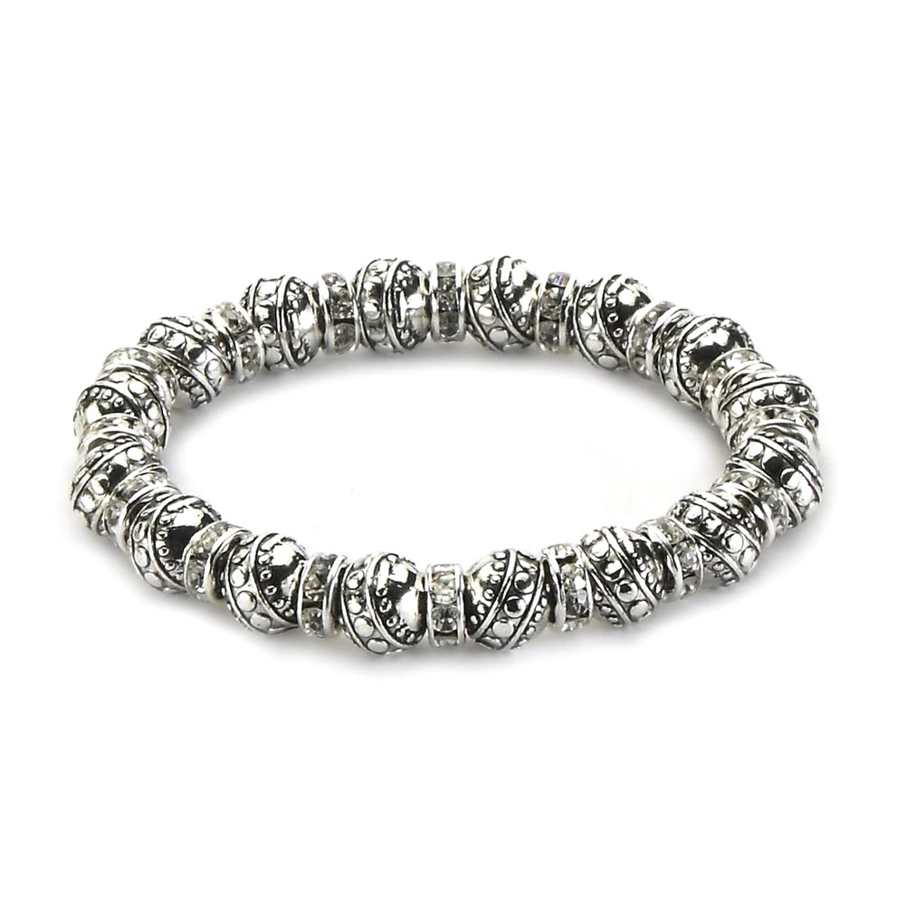 Bracelet Rondelles & Detailed Beads Made With Crystal Glass & Tin Alloy by JOE COOL