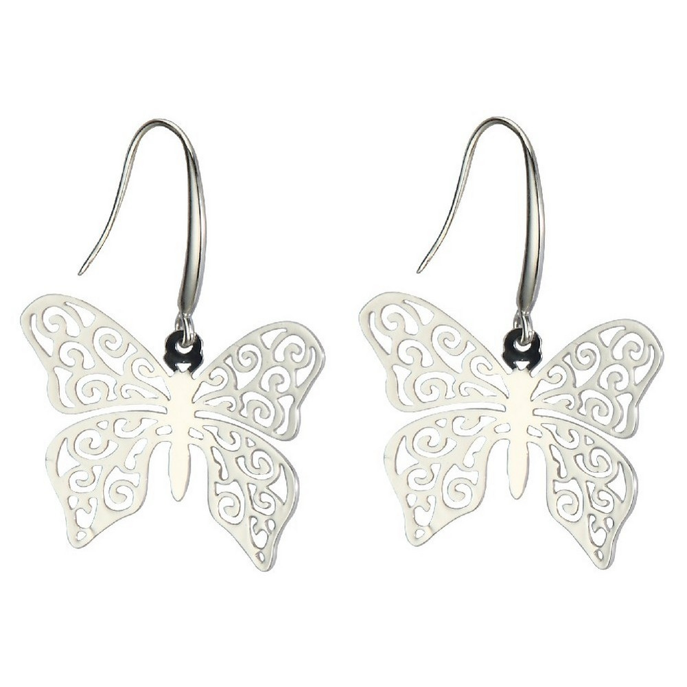 Drop Earring Etched Lattice Butterfly Made With Surgical Steel & Tin Alloy by JOE COOL