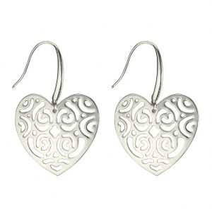 Drop Earring Etched Lattice Heart Made With Surgical Steel & Tin Alloy by JOE COOL
