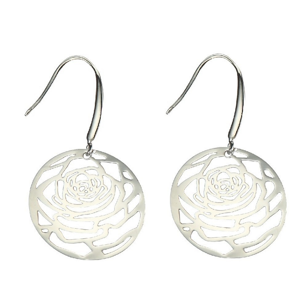 Drop Earring Etched Lattice Rose Made With Surgical Steel & Tin Alloy by JOE COOL