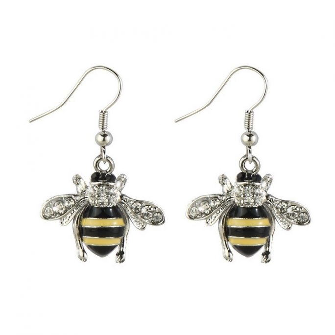 Drop Earring Bee Made With Crystal Glass & Tin Alloy by JOE COOL