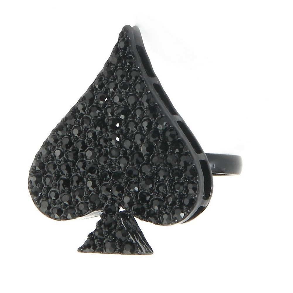 Ring Ace Of Spades 22x28mm Made With Crystal Glass & Tin Alloy by JOE COOL