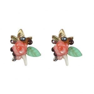 Stud Earring Vintage Flower Cluster Made With Glass & Pearl by JOE COOL