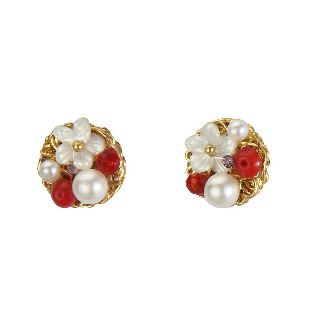 Stud Earring Vintage Flower Cluster Made With Shell & Pearl by JOE COOL