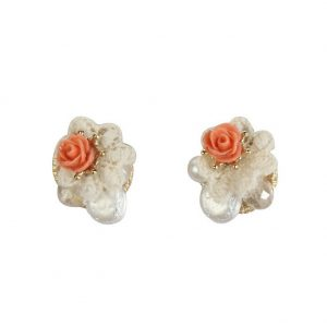 Stud Earring Vintage Rose Facet Teardrop 20mm Made With Glass & Tin Alloy by JOE COOL