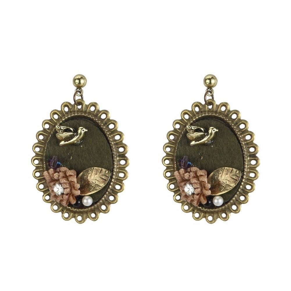 Stud & Drop Earring Victoriana Bird & Flower 40mm Made With Iron & Satin by JOE COOL