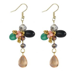 Drop Earring Romantic Cluster 60mm Made With Iron & Stone by JOE COOL