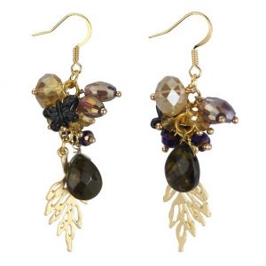 Drop Earring Romantic Minature Bouquet 60mm Made With Iron & Stone by JOE COOL