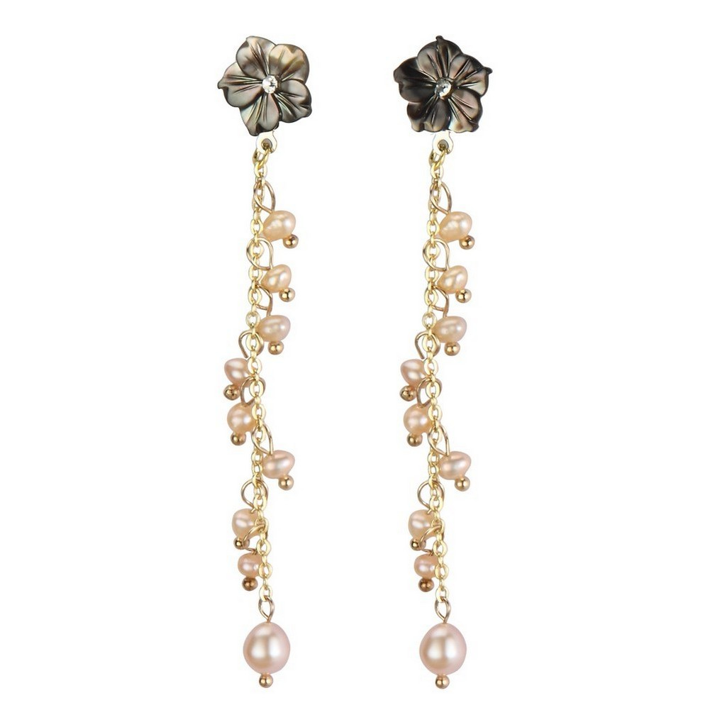 Drop Earring Romantic Trail 70mm Made With Copper & Pearl by JOE COOL