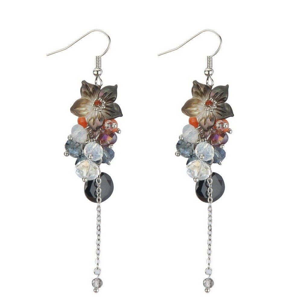 Drop Earring Romantic Fine Beaded Made With Iron & Glass by JOE COOL