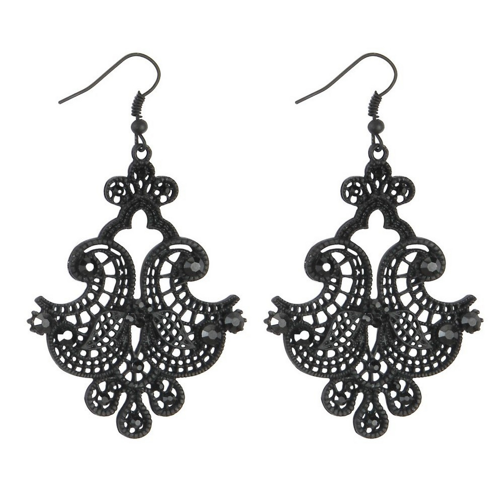 Drop Earring Filigree Pagoda Lace Made With Tin Alloy & Crystal Glass by JOE COOL