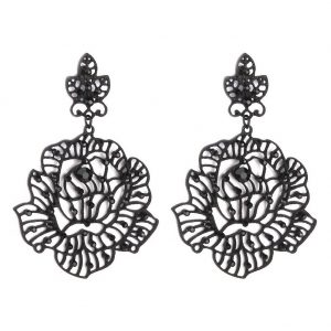 Stud & Drop Earring Filigree Lace Flower 75mm Made With Tin Alloy & Crystal Glass by JOE COOL