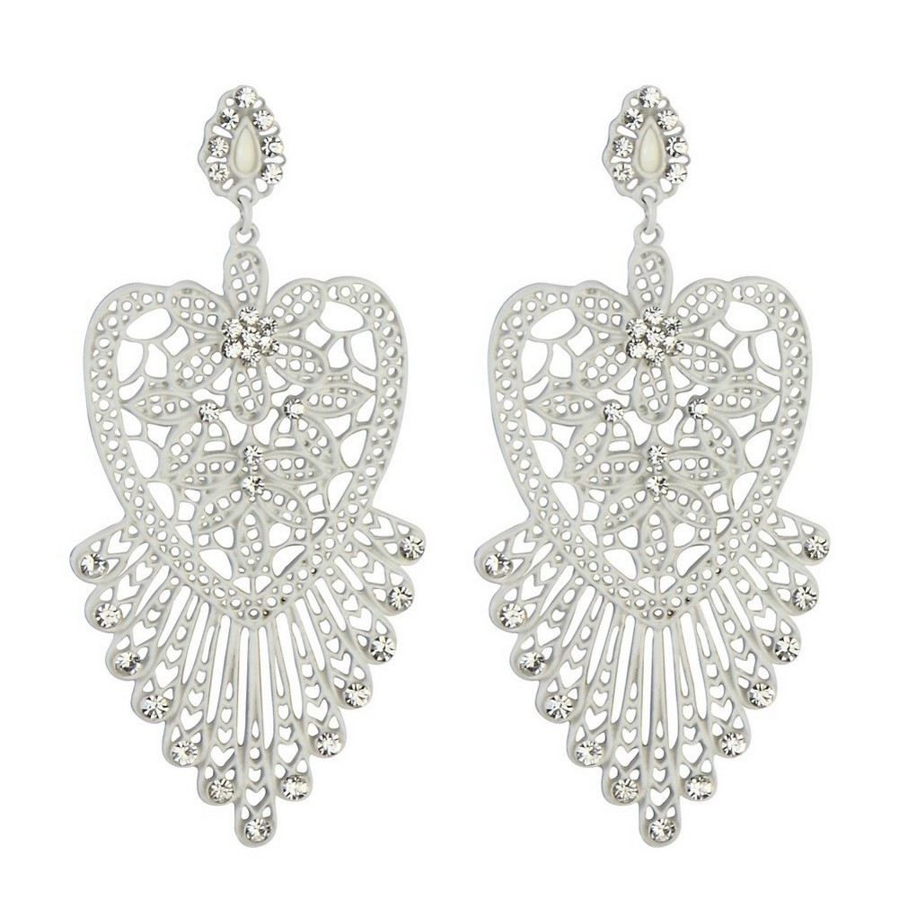 Stud & Drop Earring Filigree Lace Heart Made With Tin Alloy & Crystal Glass by JOE COOL