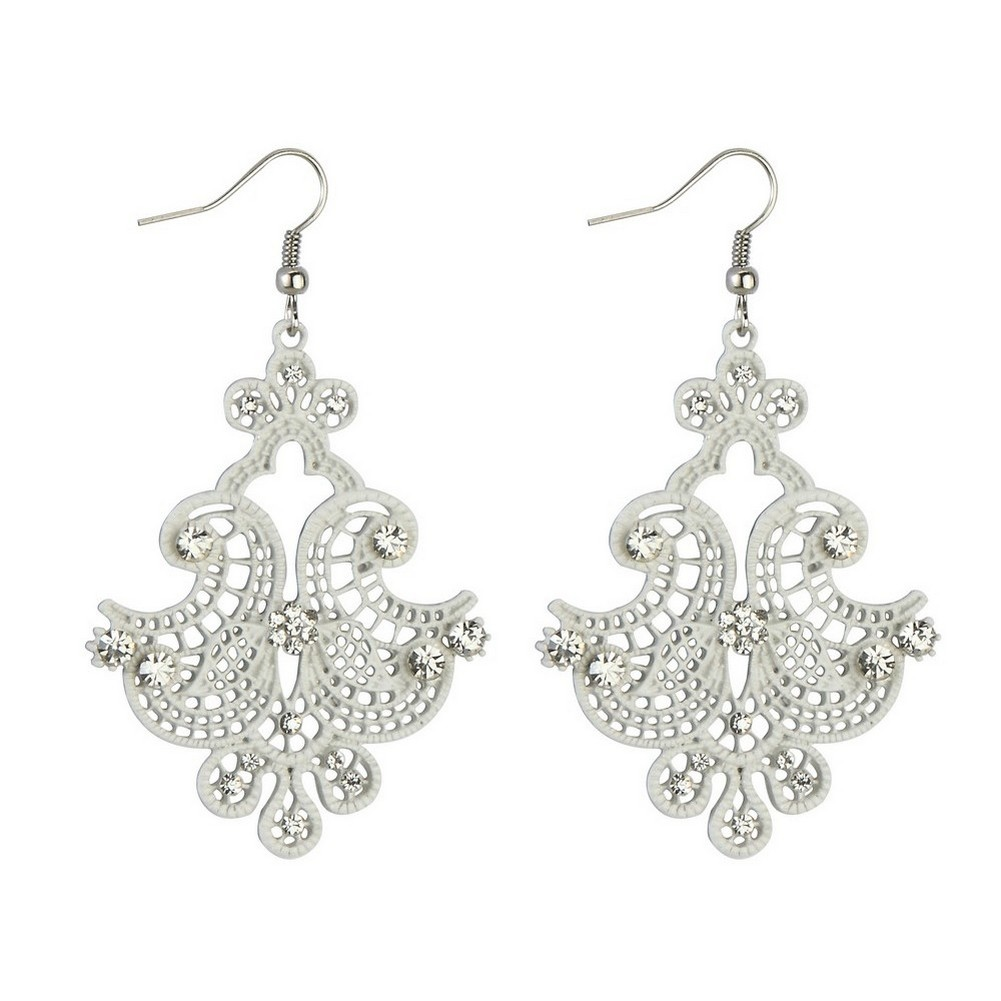 Drop Earring Filigree Lace Made With Tin Alloy & Crystal Glass by JOE COOL