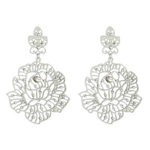 Stud & Drop Earring Filigree Lace Flower Made With Tin Alloy & Crystal Glass by JOE COOL