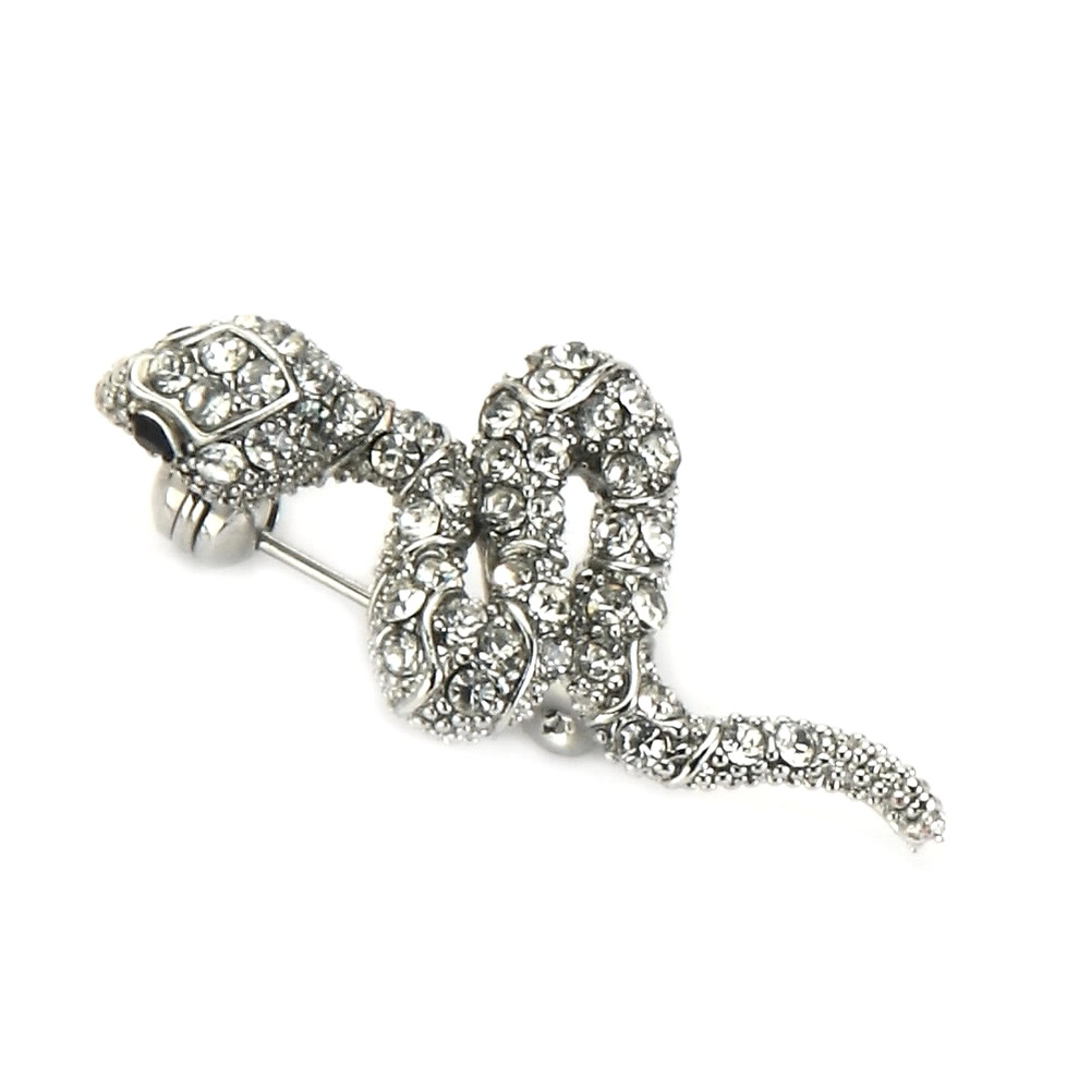 Brooch Snake Made With Crystal Glass & Tin Alloy by JOE COOL