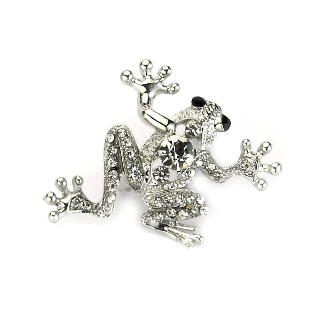 Brooch Frog Made With Crystal Glass & Tin Alloy by JOE COOL