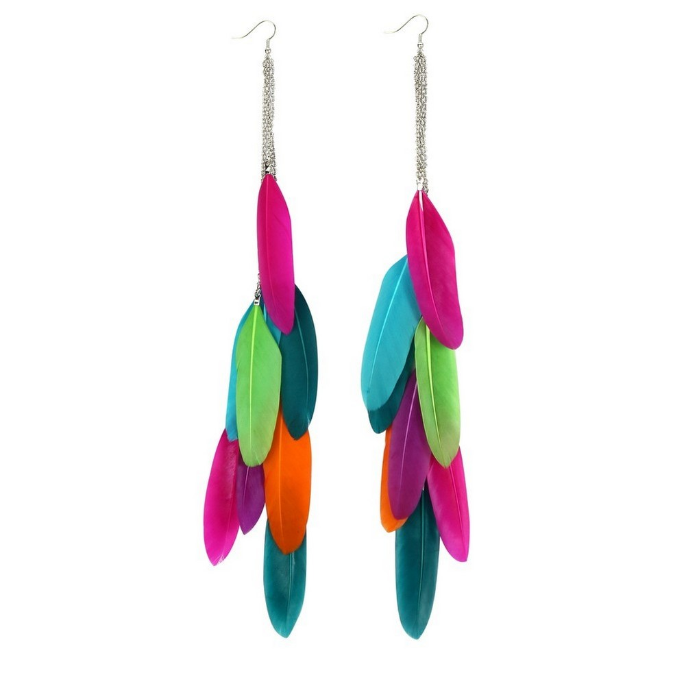 Drop Earring Multi Colour Made With Feather by JOE COOL