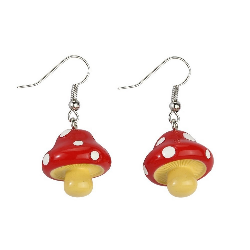 Drop Earring Mushroom Made With Resin by JOE COOL