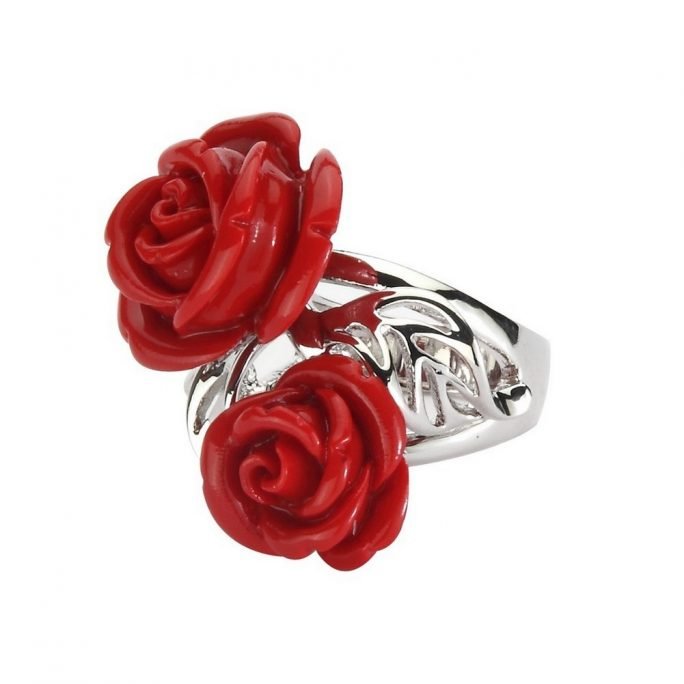 Ring Rose And Leaf Made With Resin by JOE COOL