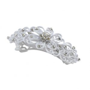 Barrette Studded Filigree Made With Crystal Glass & Tin Alloy by JOE COOL