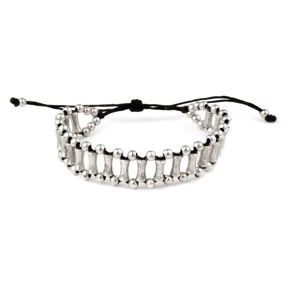 Bracelet Multi Bar With Pull Tie Made With Tin Alloy & Cord by JOE COOL