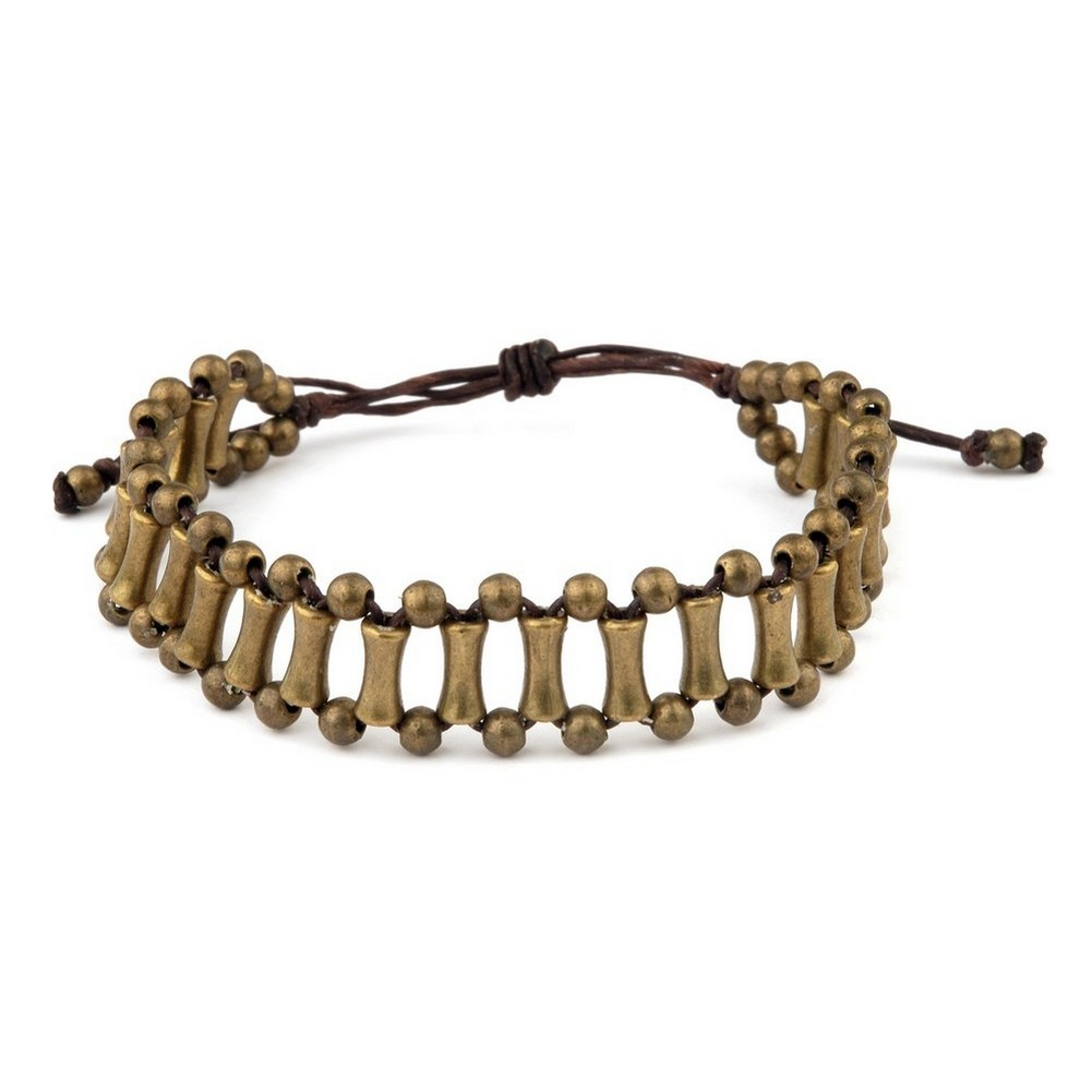 Bracelet Multi Bar With Pull Tie Made With Brass & Cord by JOE COOL