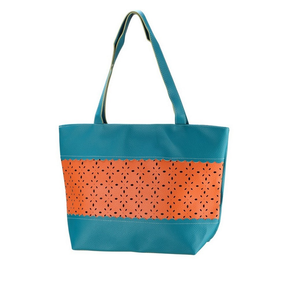 Shopper Bag Punched Orange Mid Section 43x30x13cm Made With Pu by JOE COOL