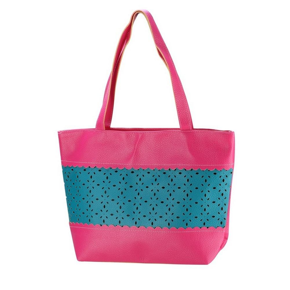 Shopper Bag Teal Blue Mid Section Pattern Punched Made With Pu by JOE COOL