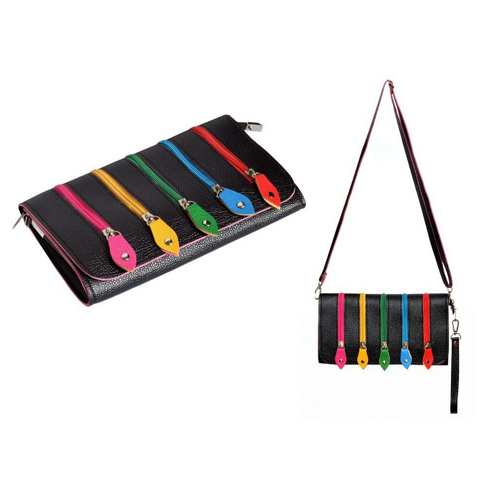 Clutch Bag With Shoulder Strap And 5 Rainbow Zips Made With Pu by JOE COOL
