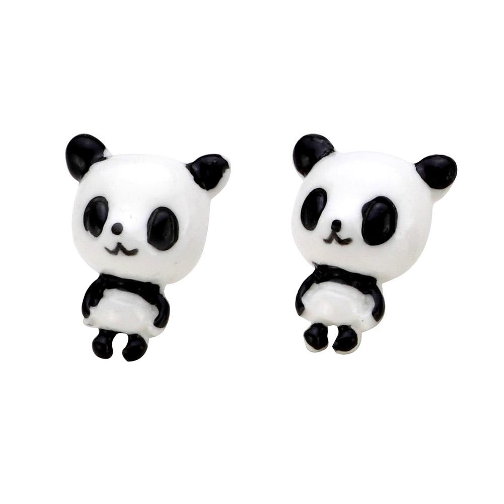 Stud Earring Little Kawaii Panda Made With Resin by JOE COOL