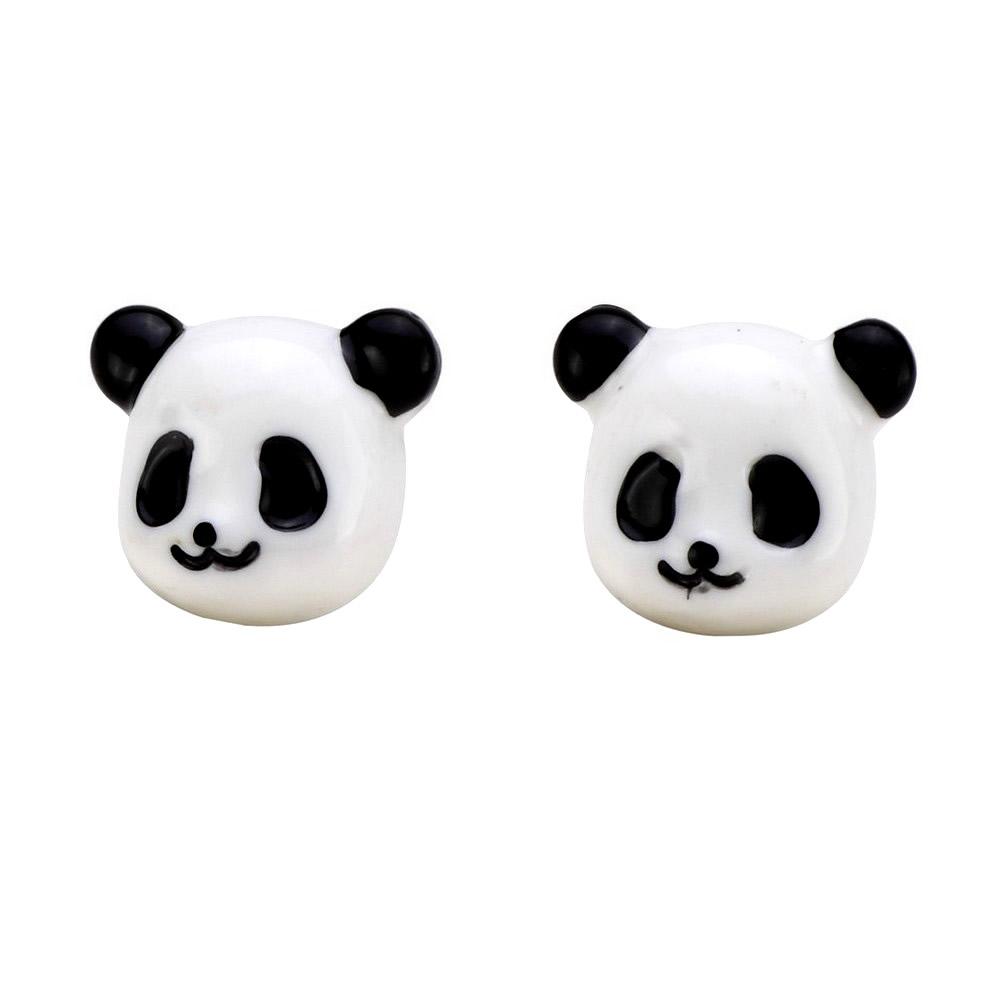 Stud Earring Panda Head Made With Resin by JOE COOL
