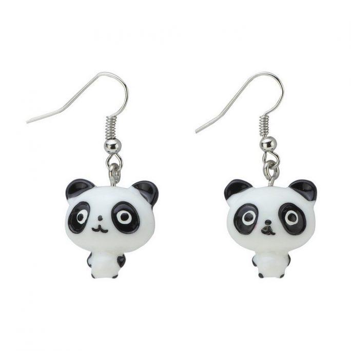 Drop Earring Panda Made With Resin by JOE COOL