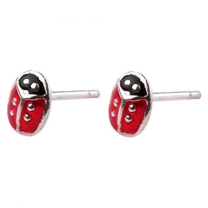 Stud Earring Ladybird Made With 925 Silver & Enamel by JOE COOL