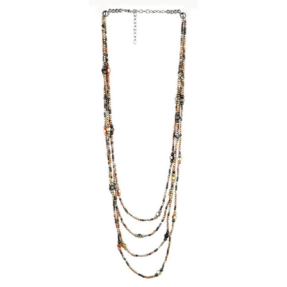 Bead String Necklace 4 Strands Of Hand Made Beads Plated Mixed Colours Made With Iron by JOE COOL