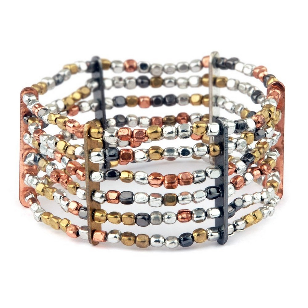 Bracelet 6 Strands Of Hand Made Beads Plated Mixed Colours Made With Iron by JOE COOL