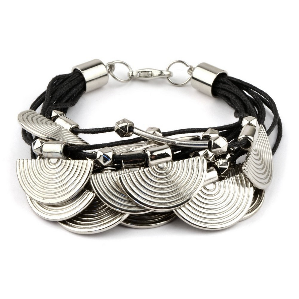 Bracelet With Fan Charm Made With Cord & Tin Alloy by JOE COOL