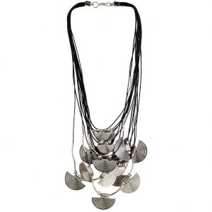 Bead String Necklace With Fan Charm Made With Cord & Tin Alloy by JOE COOL
