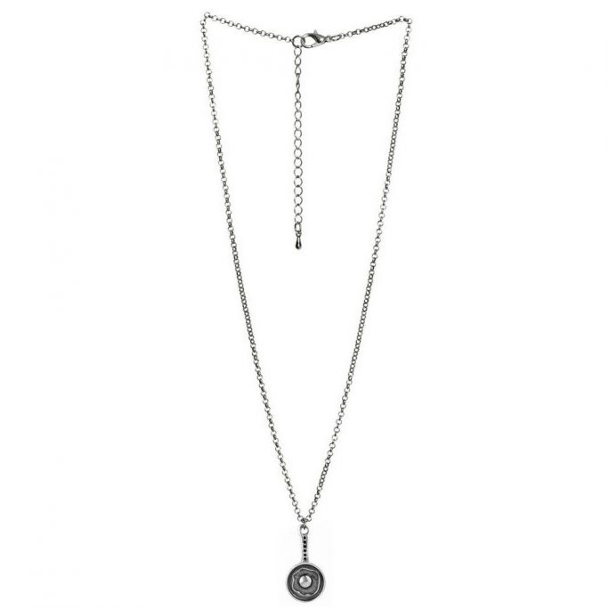 Necklace With A Pendant Egg In Frying Pan 45mm 42+5cm Chain Made With Tin Alloy by JOE COOL